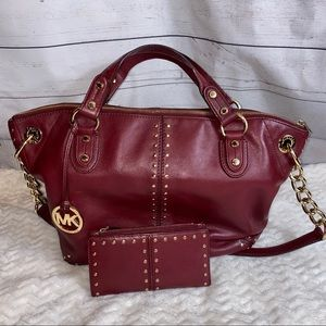 Michael Kors deep red Astor tote with wallet